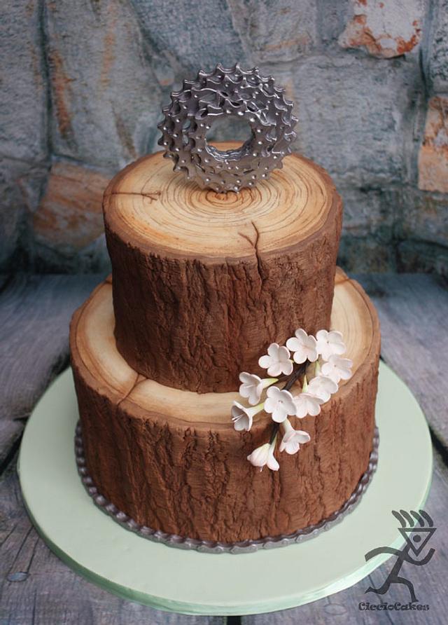 Wood Mountain Biking Cake for a girl