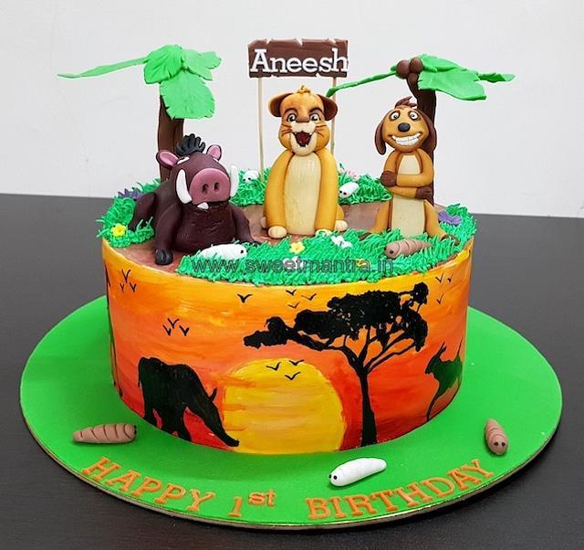 Wondrous Lion King Theme Customised Fondant Cake With 3D Simba Cakesdecor Funny Birthday Cards Online Fluifree Goldxyz