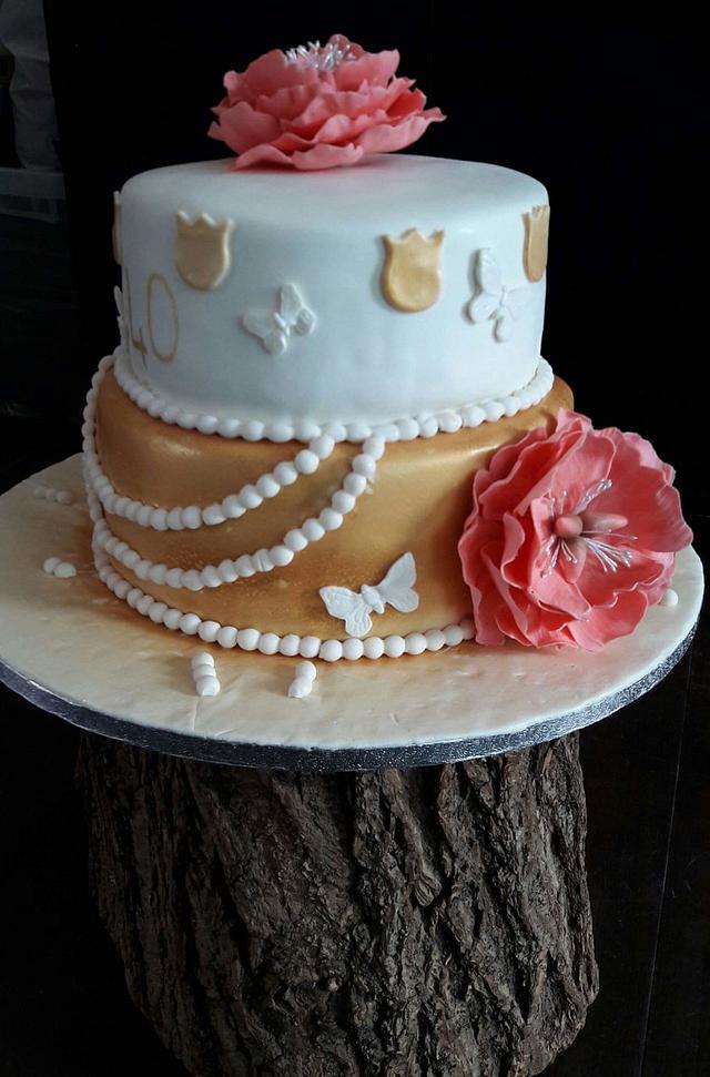 Pioenroos birthay cake