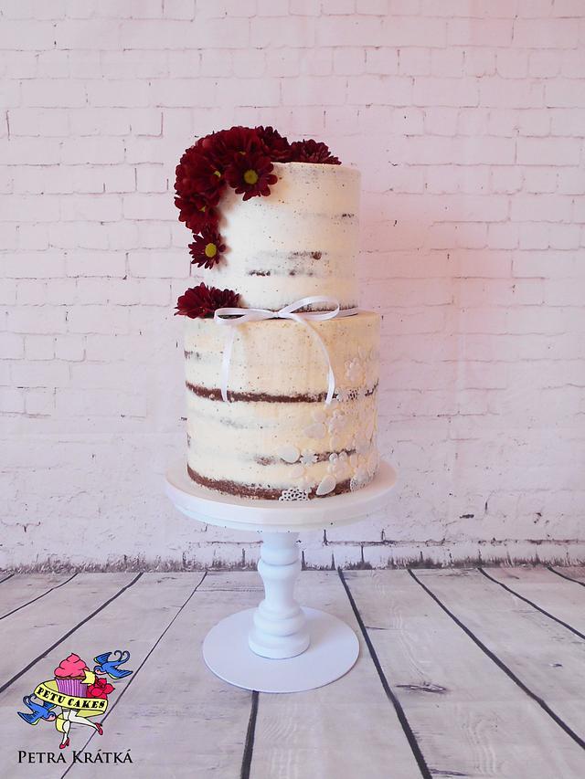 Semi naked cake with chrysanthemums