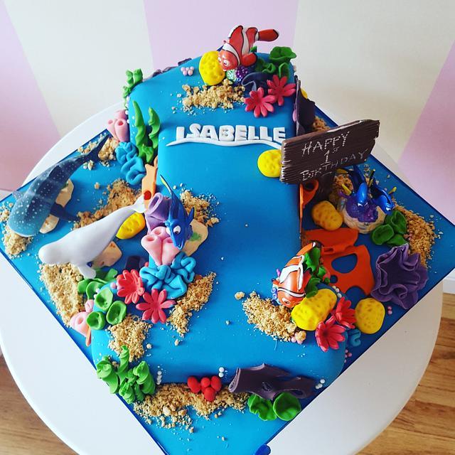 Shaped number 1 nemo cake