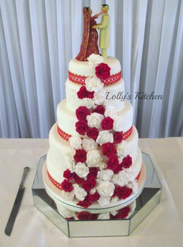 Red and White Sikh Wedding Cake
