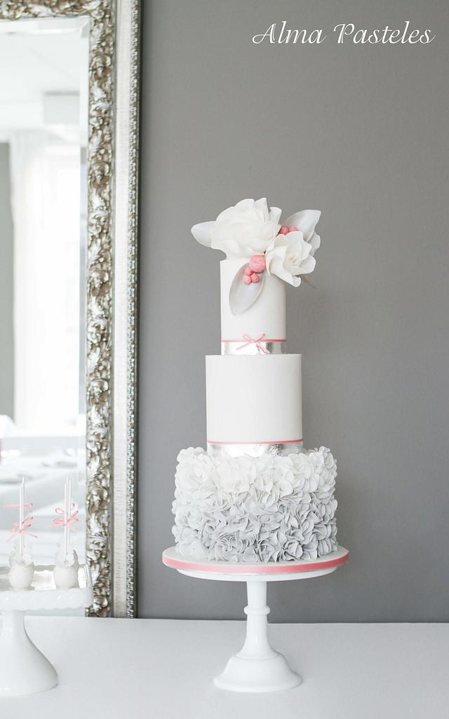 Silver and Rose wedding cake