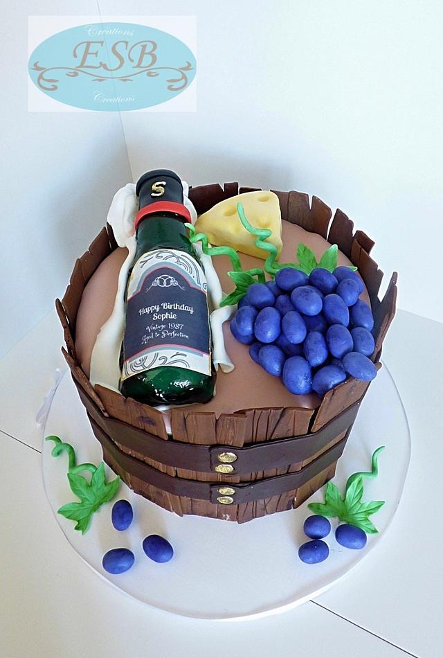 wine and cheese barrel cake