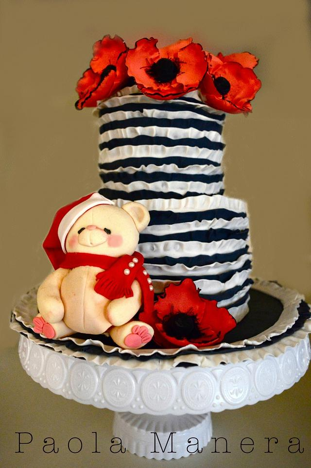 Noel Bear on a Poppies Cake
