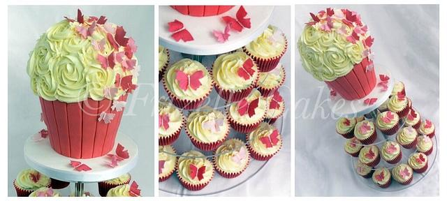 Sugar butterfly cupcake tower