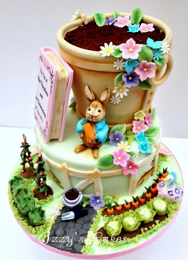 Beatrix Potter inspired christening cake