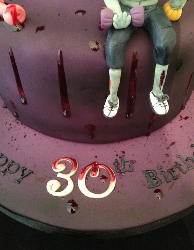 Zombie workout girl birthday cake