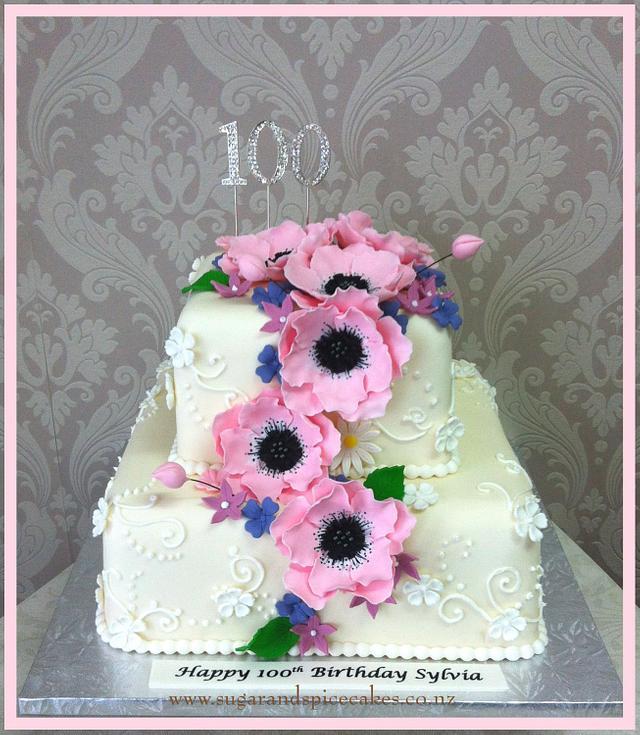 100th Birthday Cake with Sugar Anemones