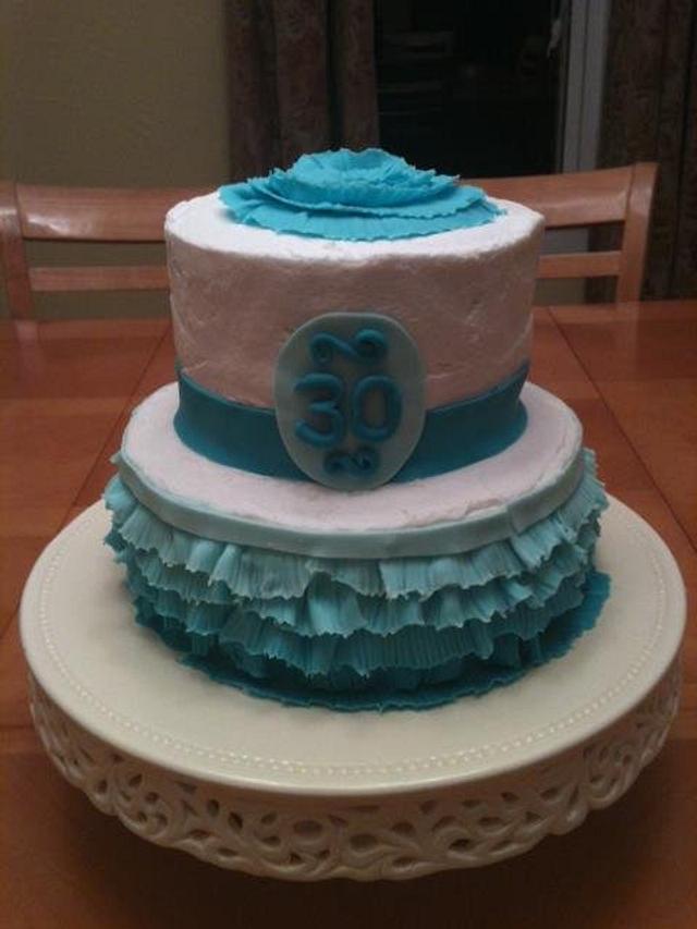 ombre ruffle cake