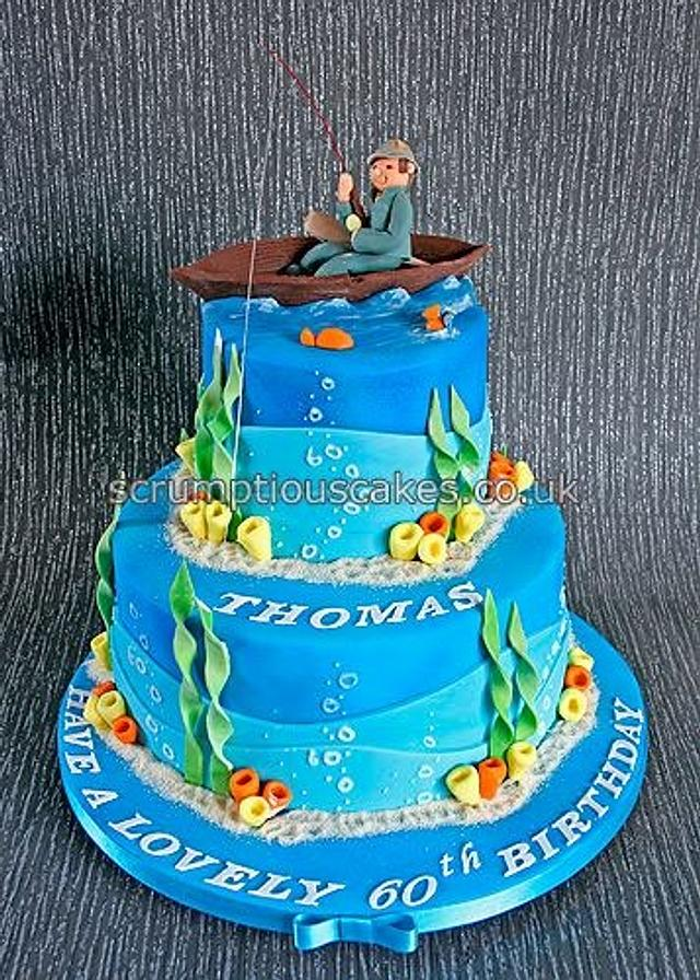 Prime Fishing Theme Birthday Cake Cake By Scrumptious Cakes Cakesdecor Personalised Birthday Cards Cominlily Jamesorg