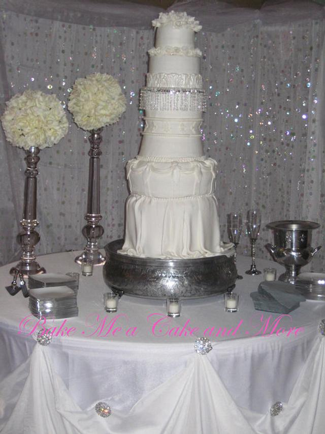 Crystals and Roses wedding cake