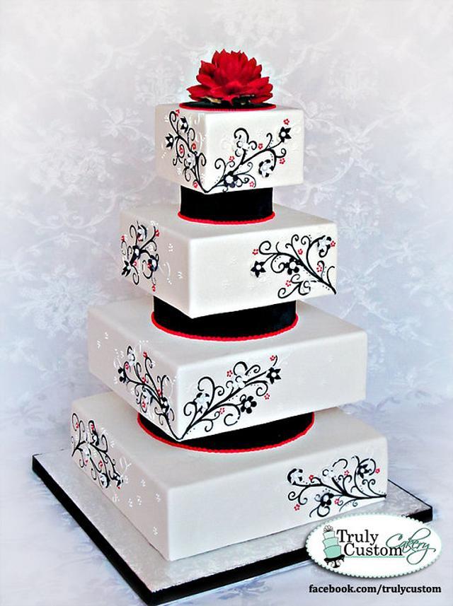 Black, Red, White Wedding Cake