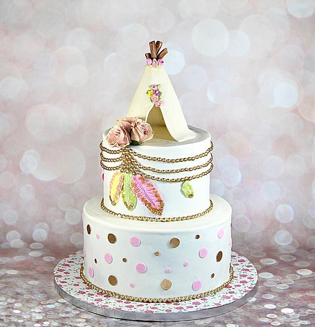 Boho theme cake