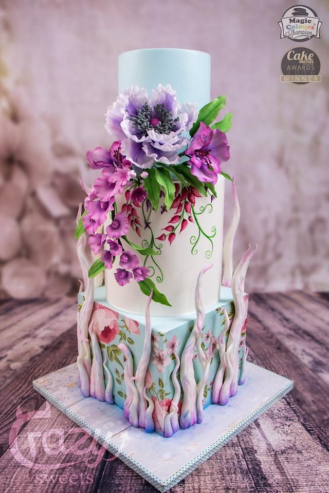 Many Flowers Wedding Cake