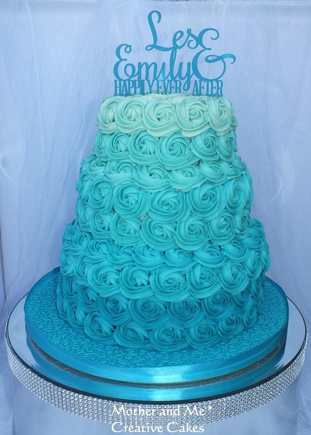 Ombre Rose Swirl Teal Wedding