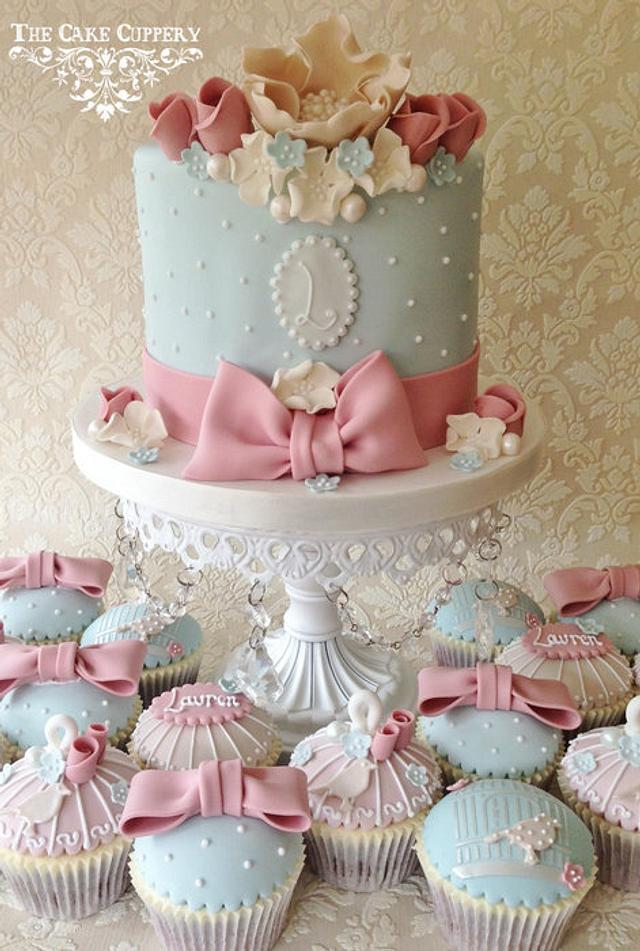 Shabby Chic Celebration Cake and Cupcakes