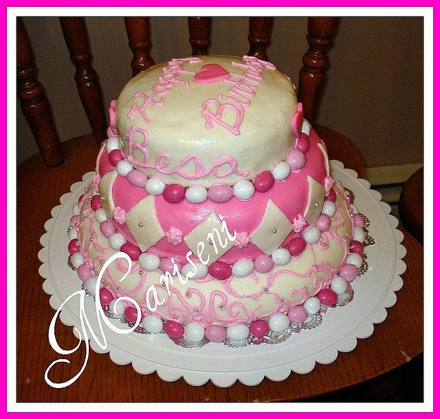 Pink & White MMF Birthday Cake
