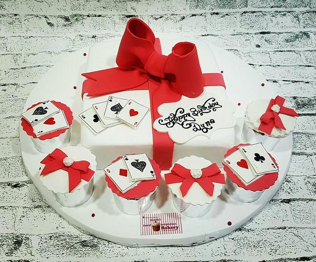 White and Red Bow Cake