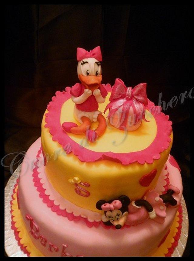 Minnie & Duffy Duck cake