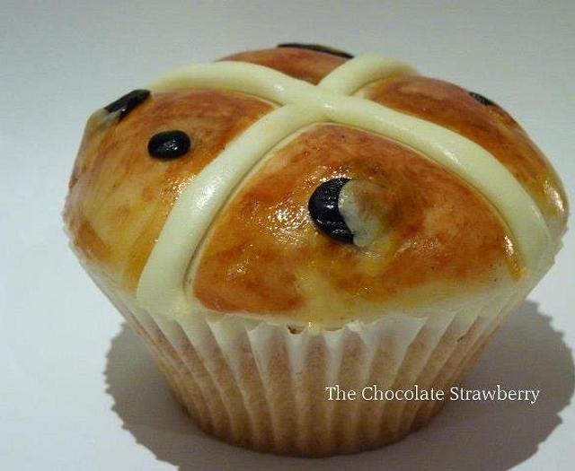 Happy Easter - Hand-painted Hot Cross Bun Cupcake