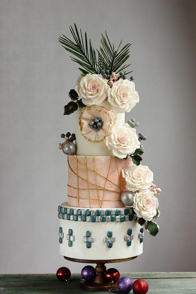 Christmas Floral Wedding Cake