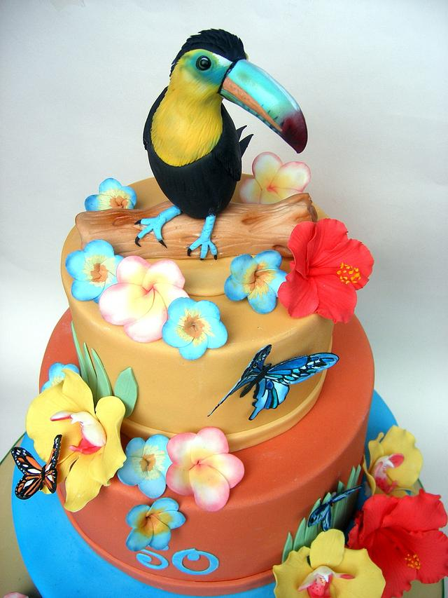 Outstanding Hawaiian Themed Birthday Cake Cake By Karen Geraghty Cakesdecor Funny Birthday Cards Online Overcheapnameinfo