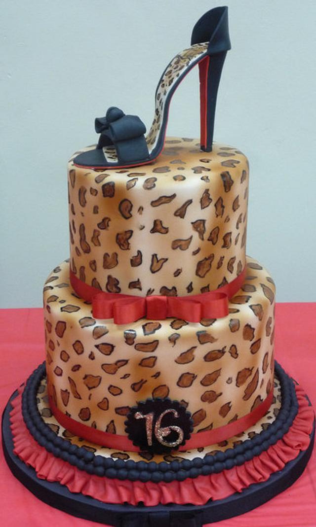 Animal Print cake with high heel