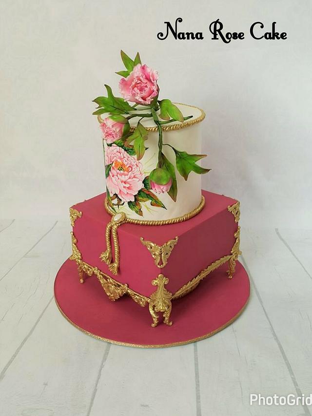 Handpaintied Antique Cake
