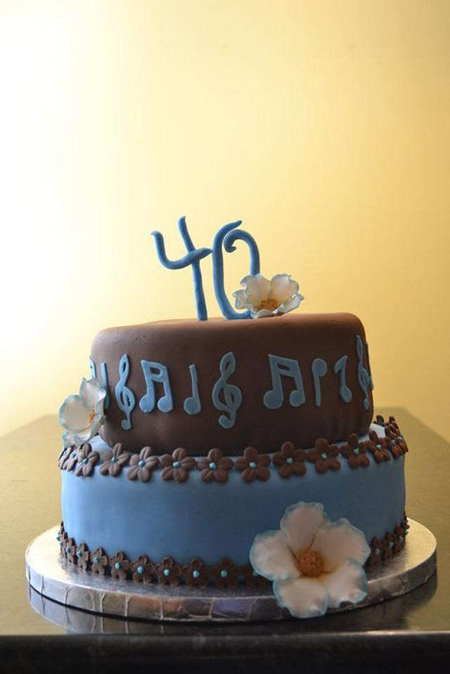 Brown and blue 40th birthday cake