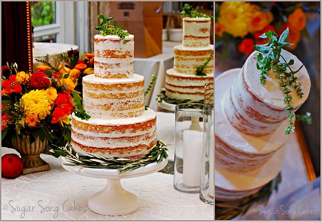 Naked Wedding Cake with fresh herbs and olive branches