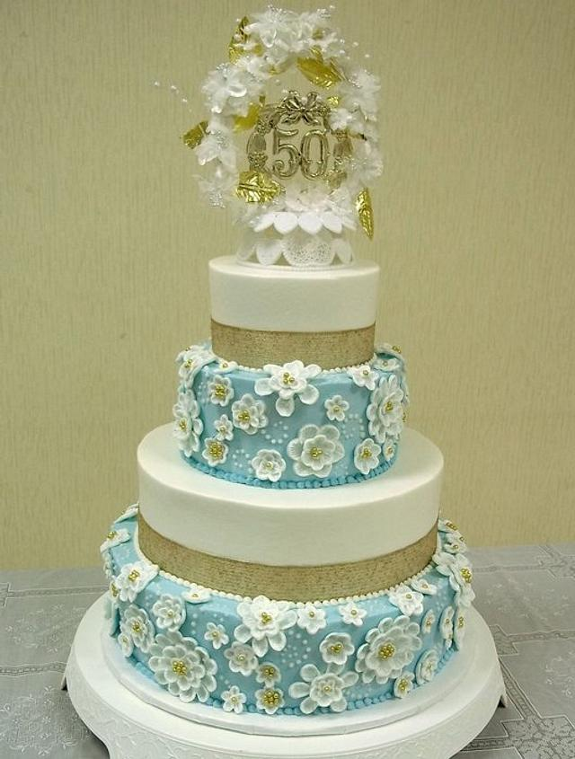 50th anniversary cake with light blue