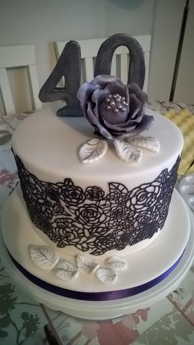Purple Lace 40th Birthday Cake