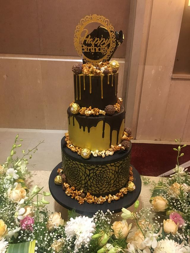 Magnificent Black And Gold Birthday Cake Cake By Archana Cakesdecor Personalised Birthday Cards Veneteletsinfo