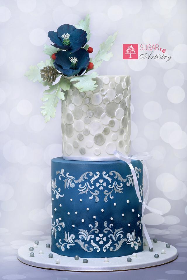Lady Blue Wedding Cake
