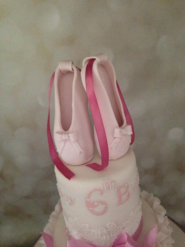 Pink ruffles ballet shoes cake