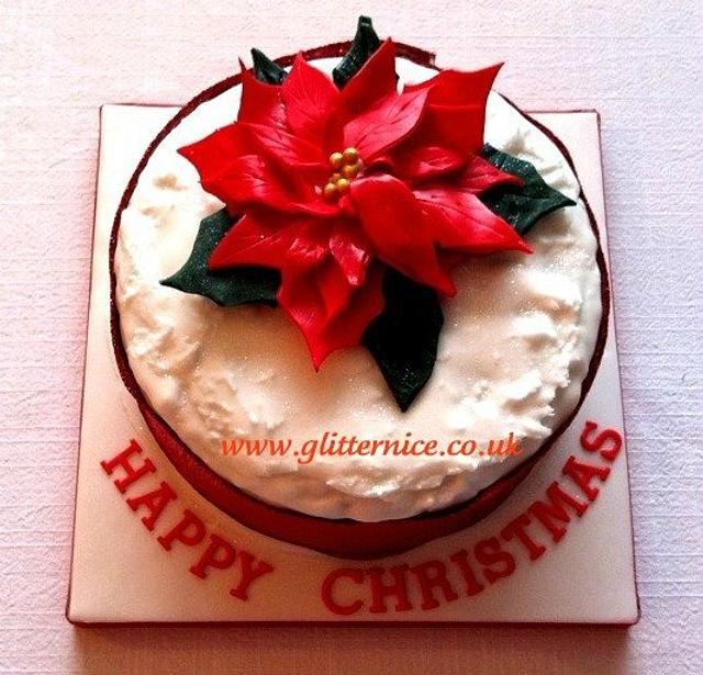 Red Poinsettia Christmas Cake