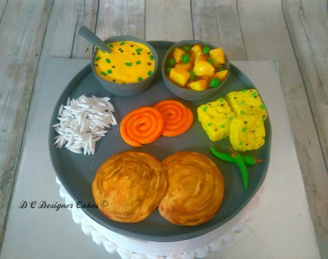 Gujarati thali theme cake