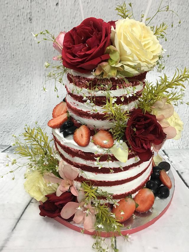 RED & WHITE NAKED CAKE