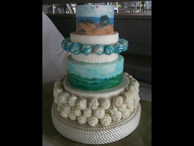 My sisters's beach wedding cake