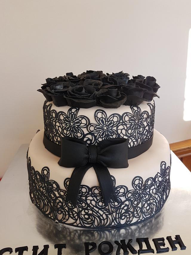 Remarkable Birthday Cake With Black Roses Cake By Kamelia Cakesdecor Funny Birthday Cards Online Fluifree Goldxyz