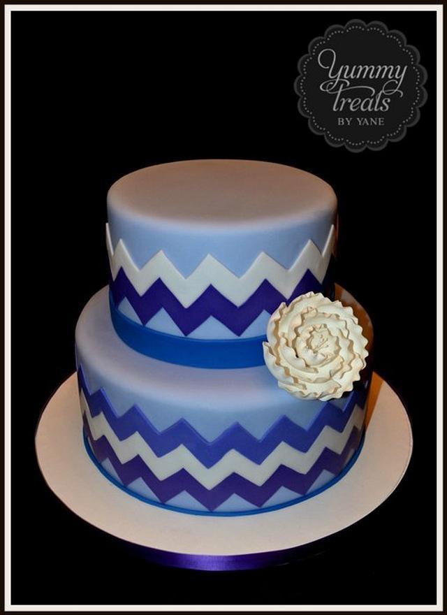 Chevron pattern cake