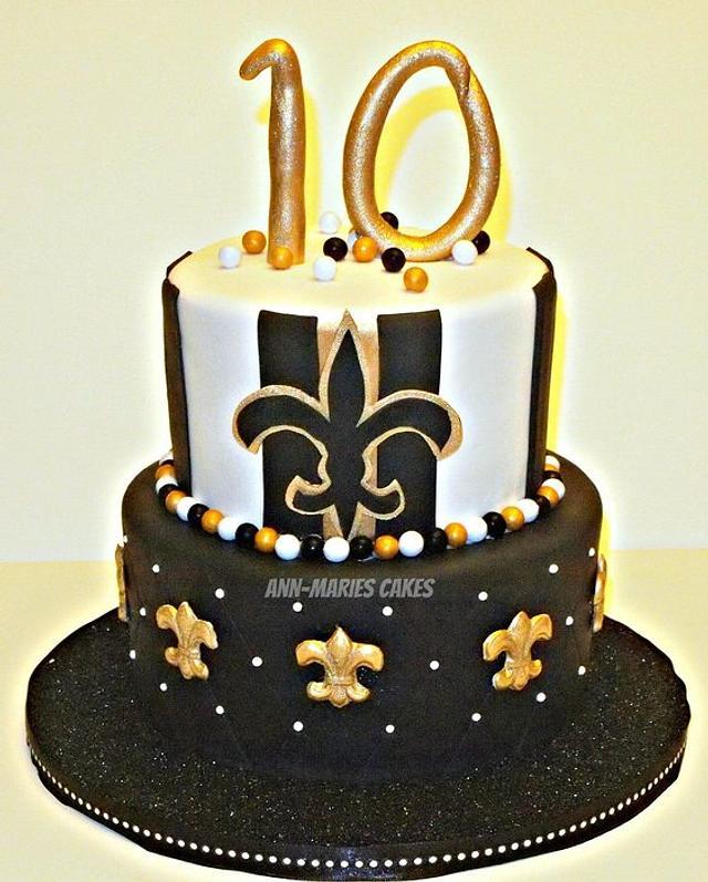 Astonishing Girlie New Orleans Saints Birthday Cake Cake By Cakesdecor Funny Birthday Cards Online Elaedamsfinfo