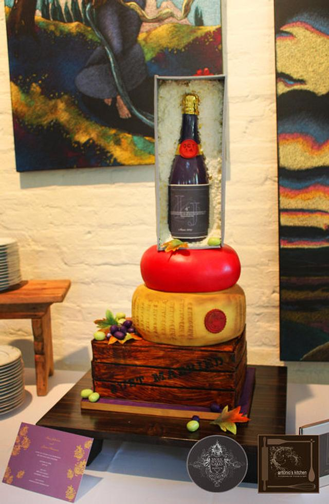 Wine and Cheese Themed Wedding Cake