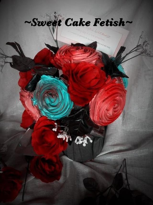 Valentines day cupcake bouquet