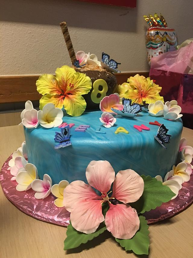 Pleasing Hawaiian Theme Birthday Cake Cake By Chubbyabi Cakesdecor Funny Birthday Cards Online Inifofree Goldxyz