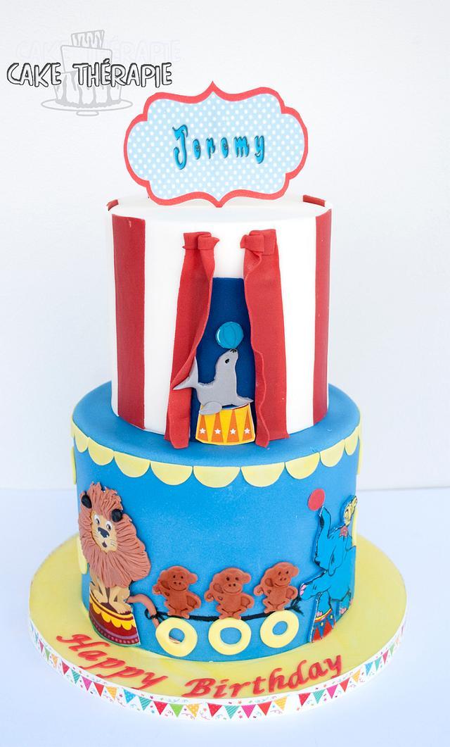 Circus themed cake. Fun and colourful