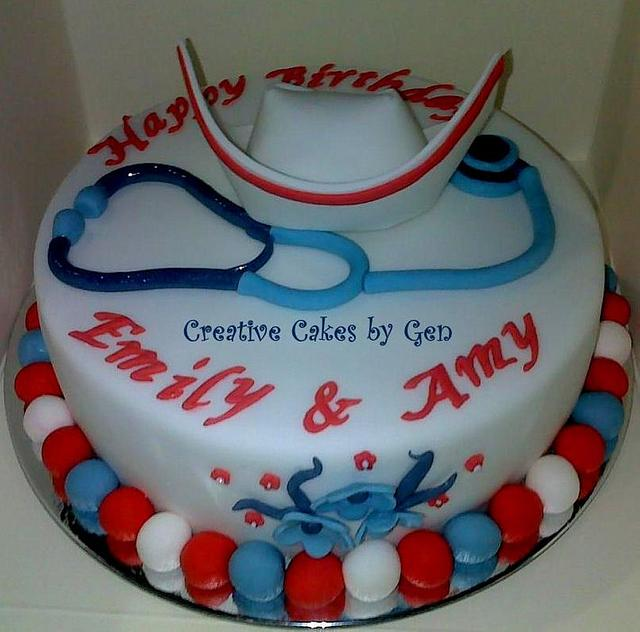 Nurse themed cake with sugarpaste cap & stethoscope