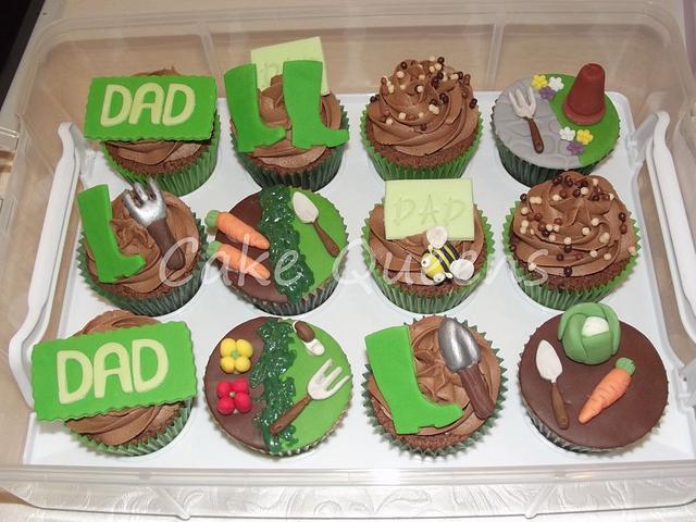 Allotment themed Birthday cupcakes