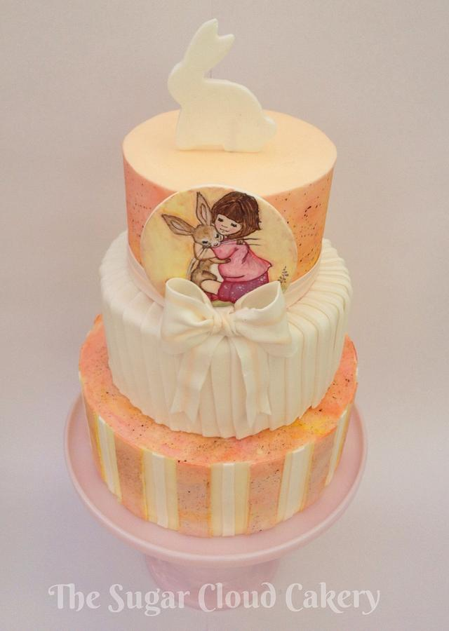 Belle & Boo hand painted Easter cake